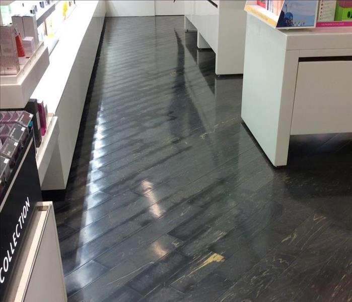 Hardwood Floor Drying at a Retail Store Before
