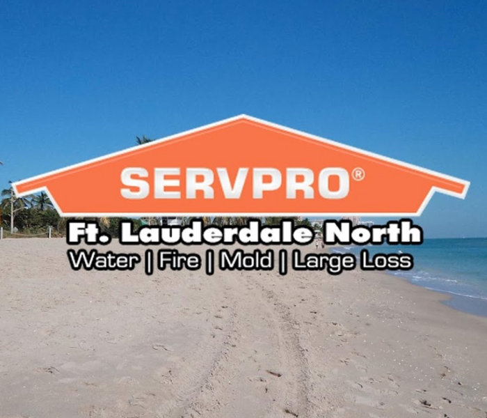 SERVPRO logo over a background shot of the beach, with calm ocean and palm trees