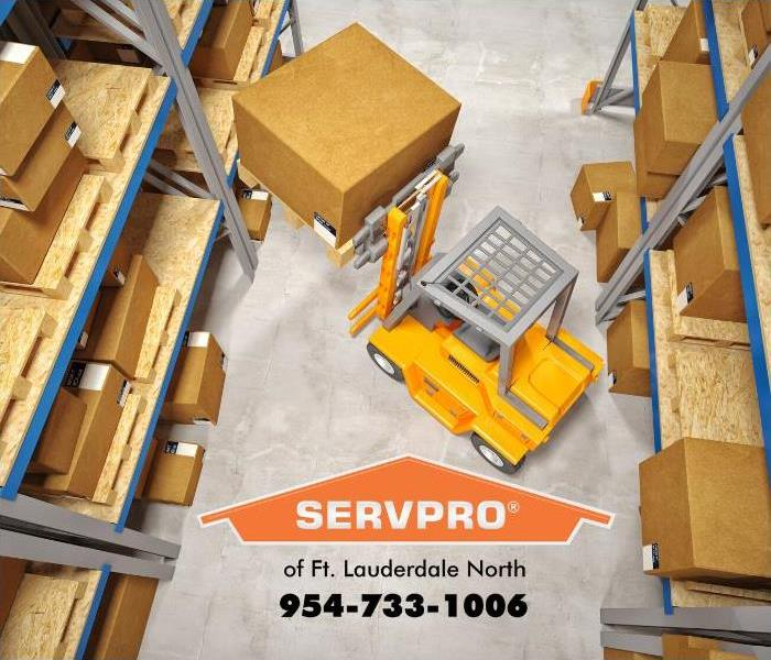 An image of a commercial warehouse is shown with a forklift moving a large box onto a shelf.