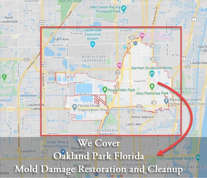 Map of Oakland Park Mold Damage Restoration and Cleanup