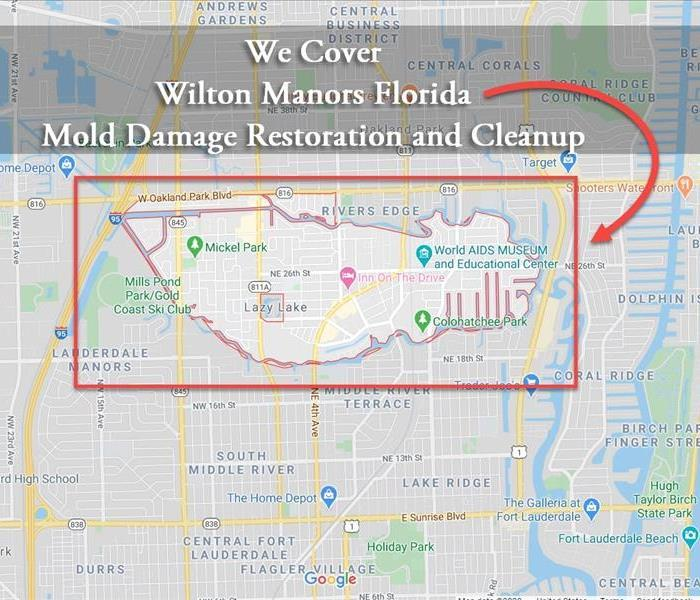 Map of Wilton Manors FL Mold Damage Restoration and Cleanup